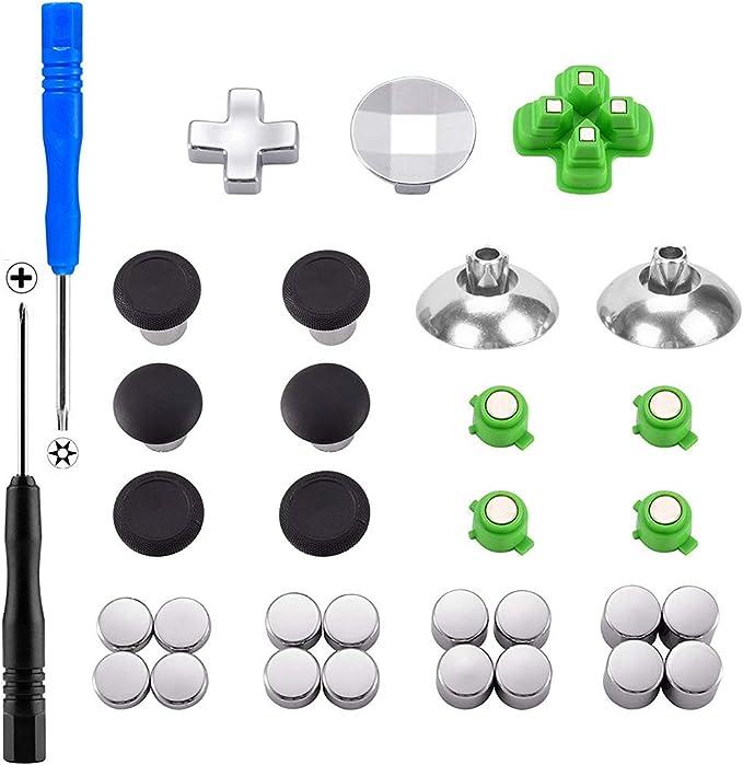 XFUNY PS4 - Juego de 31 Piezas de Repuesto para mandos de PS4, PS4 Slim, PS4 Pro, Color Negro: Amazon.es: Electrónica
