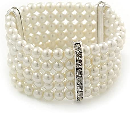 Classic Crystal Ivory Pearl Bead Corsage Cuff Bracelet 3 Rows Bridal Wedding