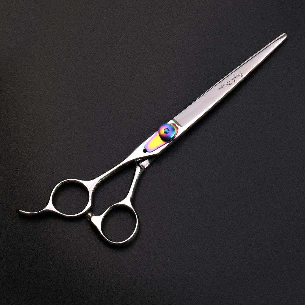 Chunker Scissor Purple Dragon 7.0 Left Handed Dog Grooming Hair Cutting Scissors/&Chunker Shears with Bag for Mancinism Pet Groomer or Family DIY