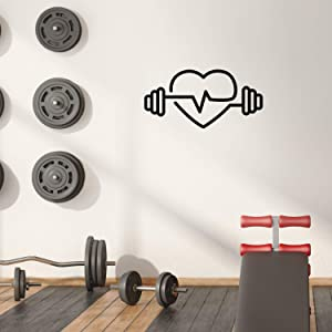 """Vinyl Wall Art Decal - Heart Shape Weights - 15"""" x 30"""" - Modern Trendy Workout Designs for Home Gym Fitness Lifestyle Health Personal Trainer Locker Room Indoor Outdoor Decor"""