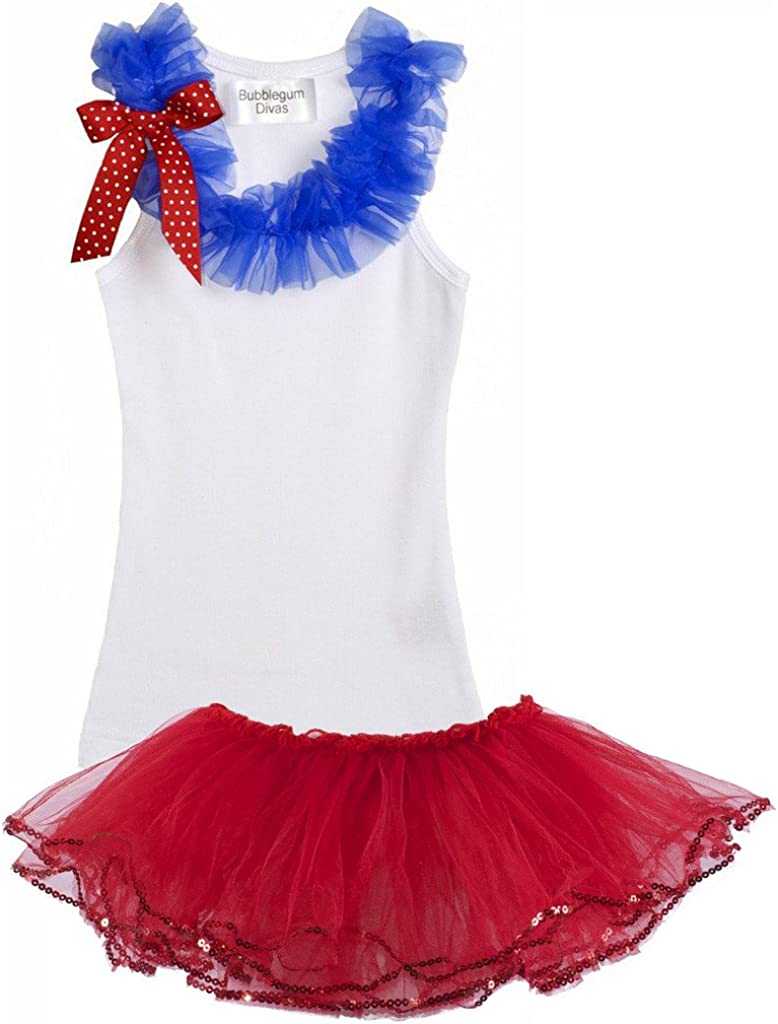 Girls Red Blue White 4th July Princess Satin Trimmed Tutu /& Tee 2pc Dress Outfit