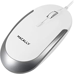 Macally Silent Wired Mouse - Slim & Compact USB Mouse for Apple Mac or Windows PC Laptop/Desktop - Designed with Optical Sensor & DPI Switch - Simple & Comfortable Wired Computer Mouse (White)