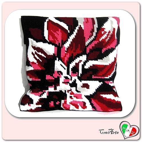 Cojín floral de medio punto - 40 cm x 40 cm - Handmade ...