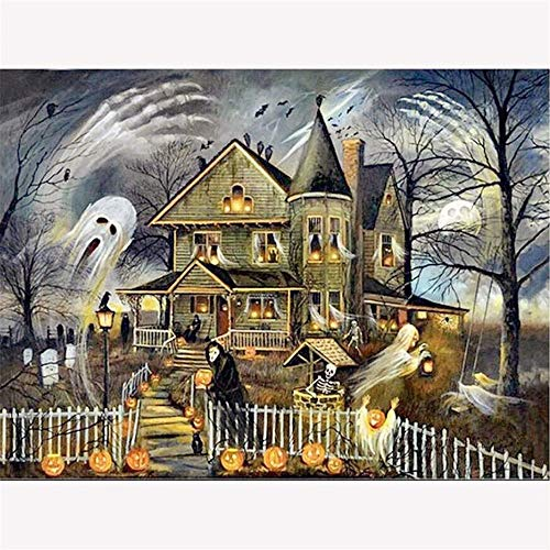 Diamond Painting Diy 5D Diamond Painting Kit Diamond Painting Round Diamond Painting For Adult Or Kid, Halloween Castle Pattern Diamond ()
