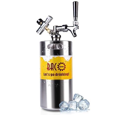 BACOENG 128 Ounce Pressurized Keg Growler, Kegerator for Home Brew Beer  with Updated CO2 Regulator
