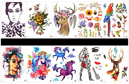 Interookie 10pcs fake tattoo stickers horse temporary tattoos in one packages,mixed designs as woman,horse with flowers,lady,lady,rose,deer,flowers,parrot,birds,deer,etc.