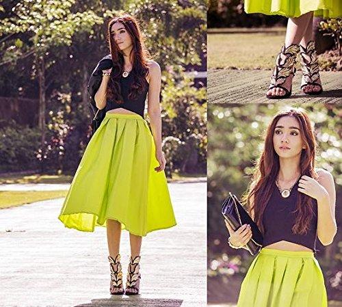 PrettyGuide Women High Waist A Line Pleated Midi Bubble Skirt in ...
