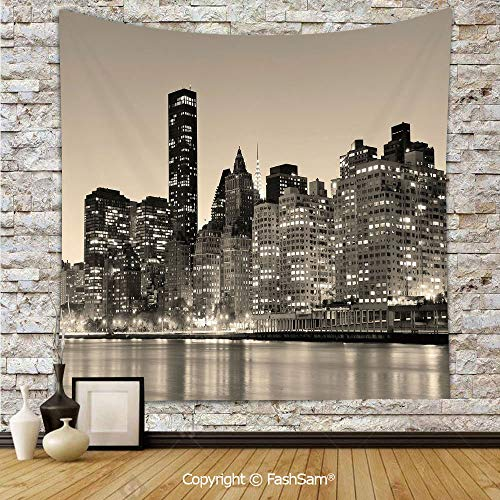 Polyester Tapestry Wall Manhattan Skyline at Night East River Panoramic Famous City Urban Life in USA Decorative Hanging Printed Home Decor(W39xL59) -