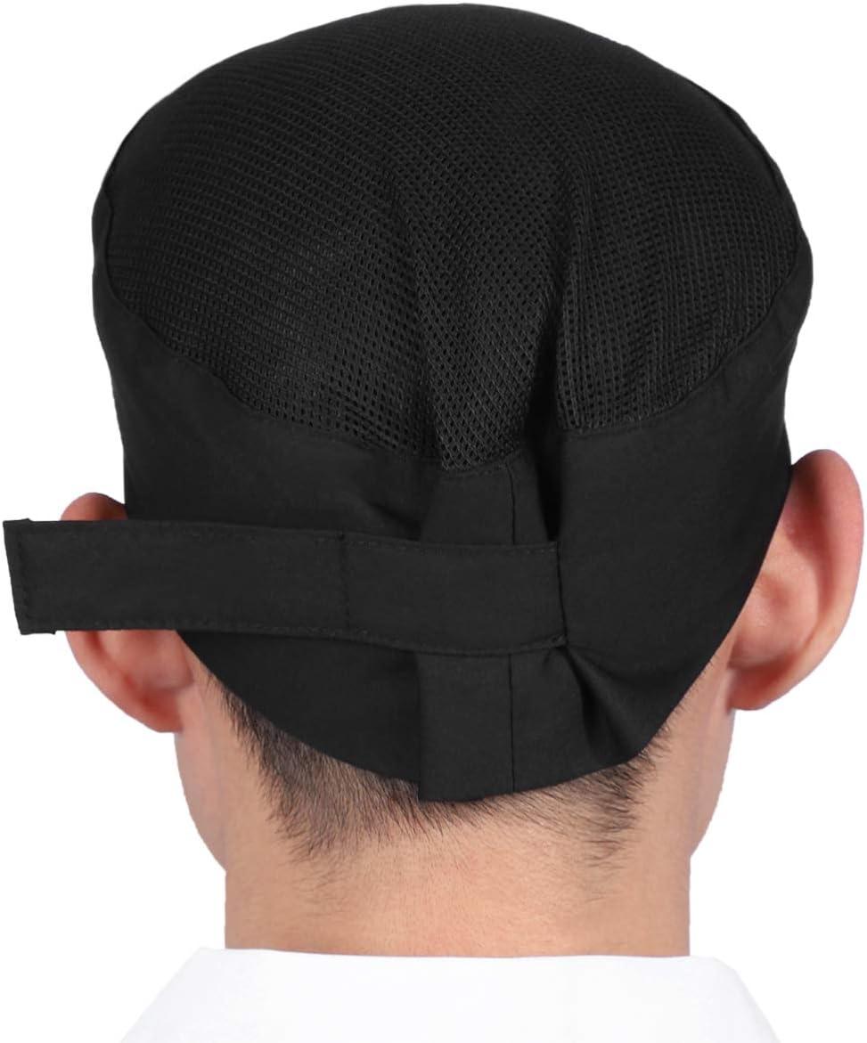 UPKOCH 1 Pc Chef Hat Mesh Top Skull Cap Adjustable Breathable Chef Skull Hat Professional Chef Cap Black