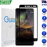 Nokia 6.1/Nokia 6 2018 Full Coverage Tempered Glass Screen Protector 3D Curved Glass Screen Protector (Black)