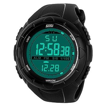 Skmei Reloj deportivo para hombre, pantalla digital LED, resistente al agua, color negro: Amazon.es: Electrónica