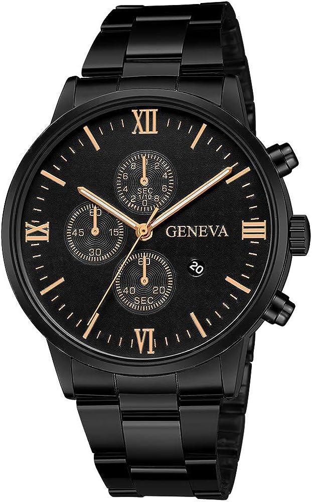 Darringls_Reloj 657 Geneva,Reloj de Acero Inoxidable Negro Clásico Calendario de Moda Clásico Diseñador Analógico Cuarzo Fecha de Negocios
