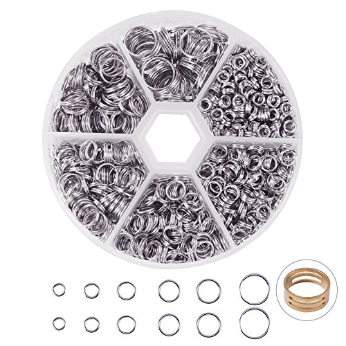 - PandaHall Elite 1 Box Iron Split Rings Double Loop Jump Ring Diameter 4-10mm Wire 19-Gauge for Jewelry Making Platinum