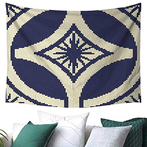 Wenhang home Tapestry Polyester Fabric Wallpaper Art,Halftone Colorful Retro Round Cross Frame Star Point Flower,Tapestry Indian Wall Deco 93