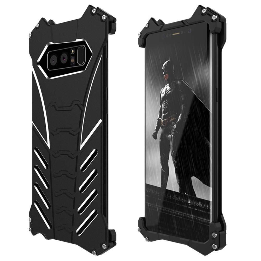 ACHAOHUIXI サムスン注5、注FE、注8、注9の携帯電話ブラケットシェルの落下防止携帯電話シェル金属保護カバー電話ケースブラック (Color : 黒, Edition : Note FE)