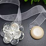 TRENTON Floral Ribbon Magnetic Tiebacks for Voile Net Door Window Curtains Decor (Clear)