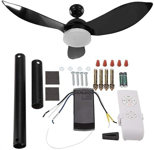 lyrlody Ventilador de Techo con lámpara, 65 W aspas Ventilador de Techo luz LED con Control Remoto para el hogar, Sala de Estar, Hotel, salón, Banquete, 48 Pulgadas: Amazon.es: Hogar