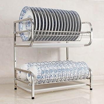 Shelf Estante, 304 Cocina Doble de Acero Inoxidable se Puede Colocar en el Estante de