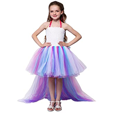 09b15de822e1 Girls Unicorn Costume Cosplay Fancy Dress Up Birthday Party Outfits ...