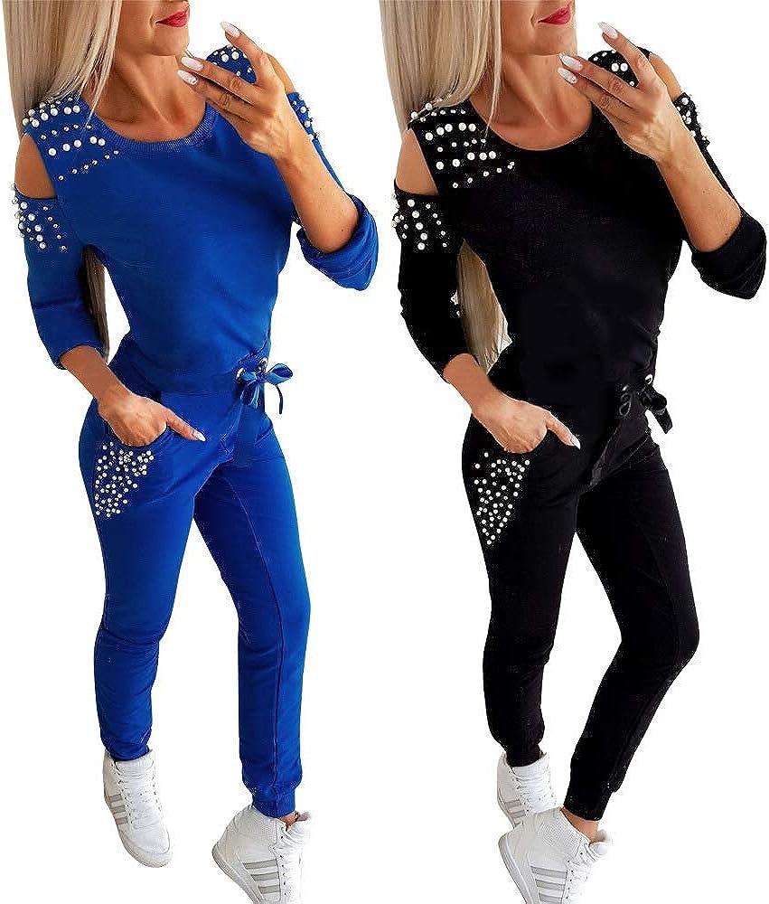 Pantalon Joggers Ensemble de Sport Suit Minetom Femmes 2 Pi/èce Surv/êtement Combinaison Perl/é Sweats /à Capuche Sweatshirts