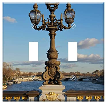 Amazon Com Switch Plate Double Toggle Bridge River Water Paris France Sky Clouds City Home Improvement