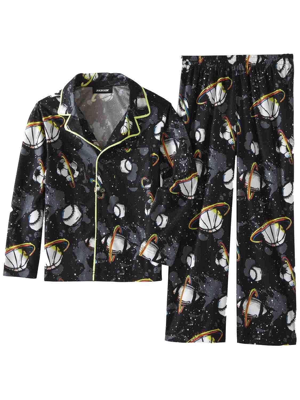 Boys Black Flannel Outer Space Sports Pajamas Soccer Baseball Sleep Set