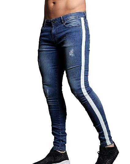 aceb386511185e XARAZA Men's Skinny Slim Fit Stretch Jeans Denim Pencil Pants (Dark Blue  Stripe, US