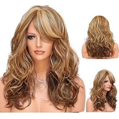Neuf Femmes Dégradé Marron Cheveux Longs Bouclés Perruques Blond