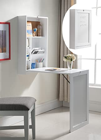 Amazon.com : Kings Brand White Finish Wood Wall Mounted Fold Out  Convertible Writing Floating Desk : Office Products