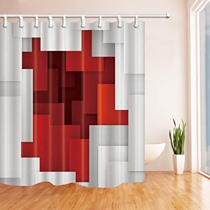 Nyngei Red White Squares Print Bath Curtain Polyester Fabric Waterproof Shower 708X708