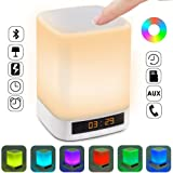 Qoosea Bedside Lamp Bluetooth Speaker 10 in 1 [Built-in Power Bank, With USB Port] Magic Speaker Touch Color Changing LED Lights Dimmable Portable Table Lamp Alarm Clock (Upgrade Version)