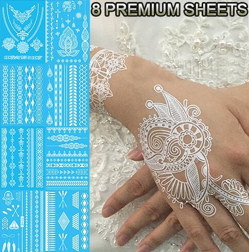 Tastto Lace Henna Temporary Tattoos, White, 8 Sheets