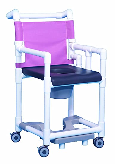 Amazon.com: Closed Front Seat PVC Rolling Deluxe Shower Chair ...