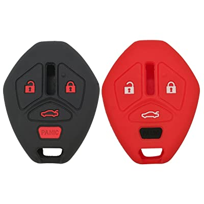 2Pcs Coolbestda Rubbber Key Fob Remote Cover Case Protector Keyless Skin Jacket Holder for Mitsubishi Eclipse 2006-2012 Endeavor 2006-2011 Galant 2006-2012 Lancer Outlander 2007-2013