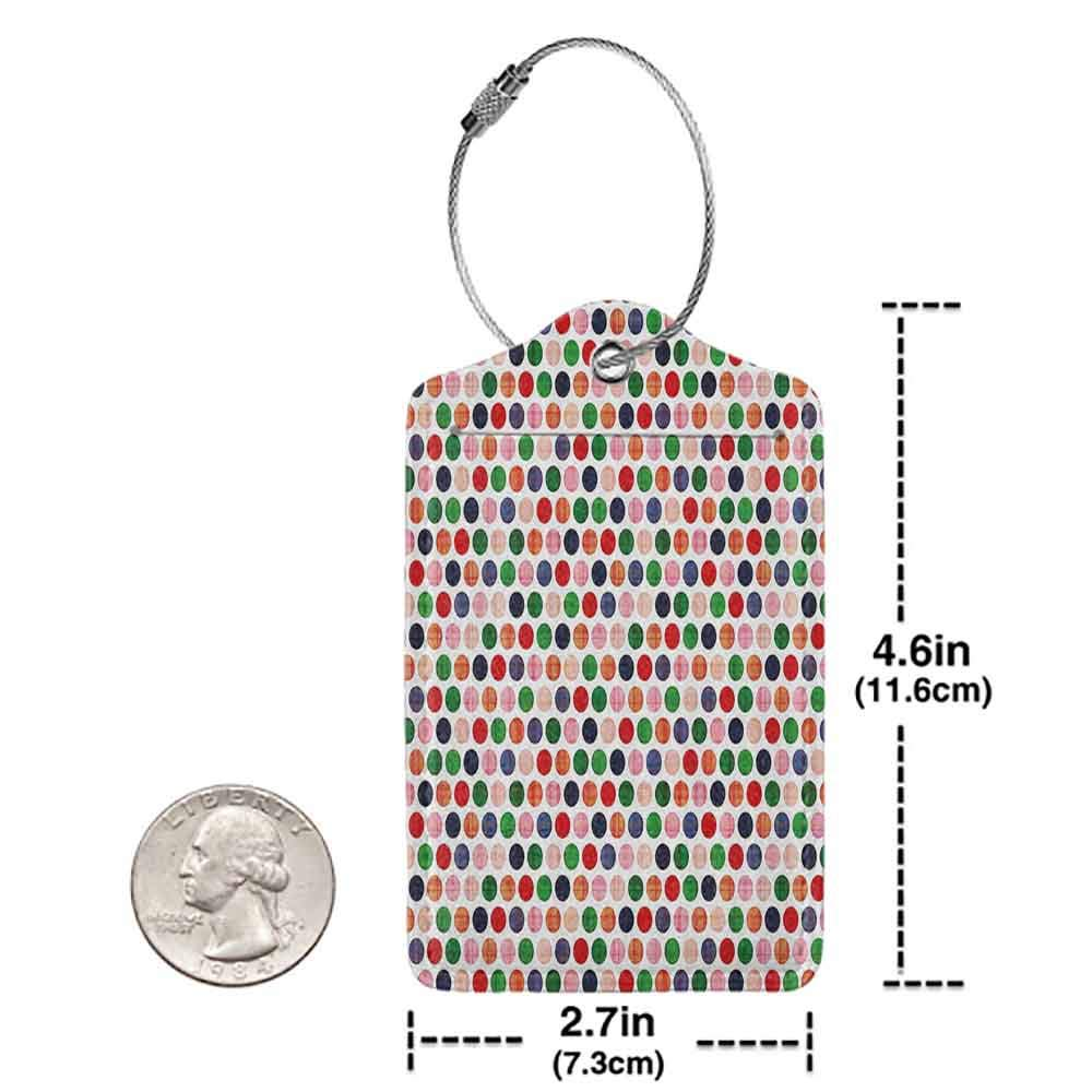 Modern luggage tag Abstract Colorful Dots Circular Round Disc Shapes Geometric in Contrast Vivid Tones Artwork Suitable for children and adults Multicolor W2.7 x L4.6