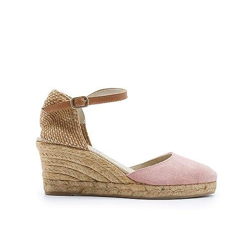 ZAPSHOP 625 Alpargatas 100% Piel Vuelta de cuña Cerradas al Dedo para Mujer de Color Rosa: Amazon.es: Zapatos y complementos