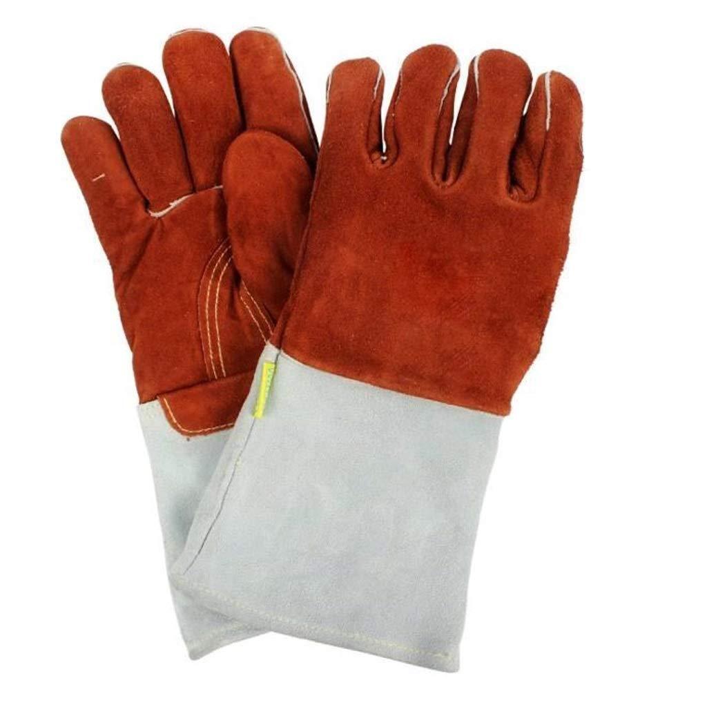 LZRZBH Heat Resistant & Flame Retardant Welding Gloves & Fireplace Gloves & Grill Gloves & BBQ Gloves,Leather Gardening Gloves Work Gloves-13.7in-red