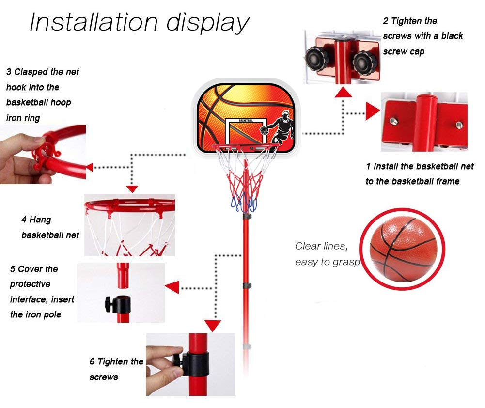Liberty Imports Kids Portable Mini Basketball Hoop Diagram Stand Height Adjustable Toy Set With Metal Rim Pump Ball Net Indoor Outdoor Kit For