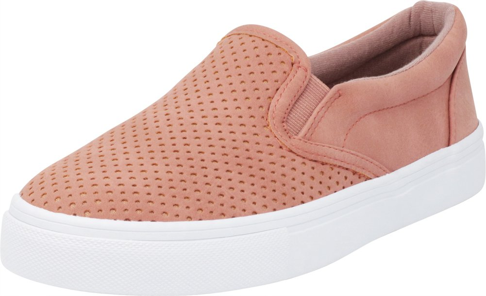 Cambridge Select Women's Slip-On Closed Round Toe Perforated Laser Cutout White Sole Flatform Fashion Sneaker B07F94ZWSC 8 B(M) US|Dark Mauve Nbpu/White Sole