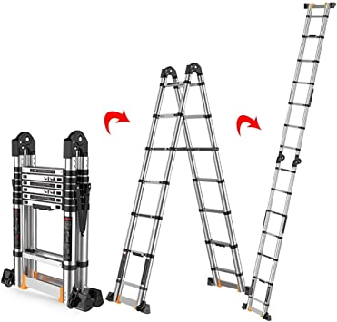 LADDER Escaleras Telescópicas, Escalera Telescópica Plegable de Aluminio, Escalera de Extensión de Ingeniería de Uso Múltiple de Uso Pesado con Rueda Deslizante, Capacidad de 330 lb,2.1m / 6.9ft: Amazon.es: Bricolaje y herramientas