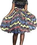 Shenbolen Women African Traditional Costume Flower Print Casual Dashiki Skirt (Small, D)