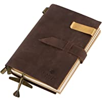 Genuine Leather Bound Travel Journal and Handmade Antique Diary with Refillable Notebooks (180 Pages) to Write In, 5.9 x 4.1 Inches, Vintage Brown, Top Graduation and Holiday Gift for Men and Women