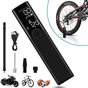 VEEAPE Portable Air Compressor Handheld Rechargeable Tire Inflator, Electric Air Pump Kit with Large LCD Display Pressure Gauge LED Light for Bicycle Motorcycle, Balls and Other Home Inflatables