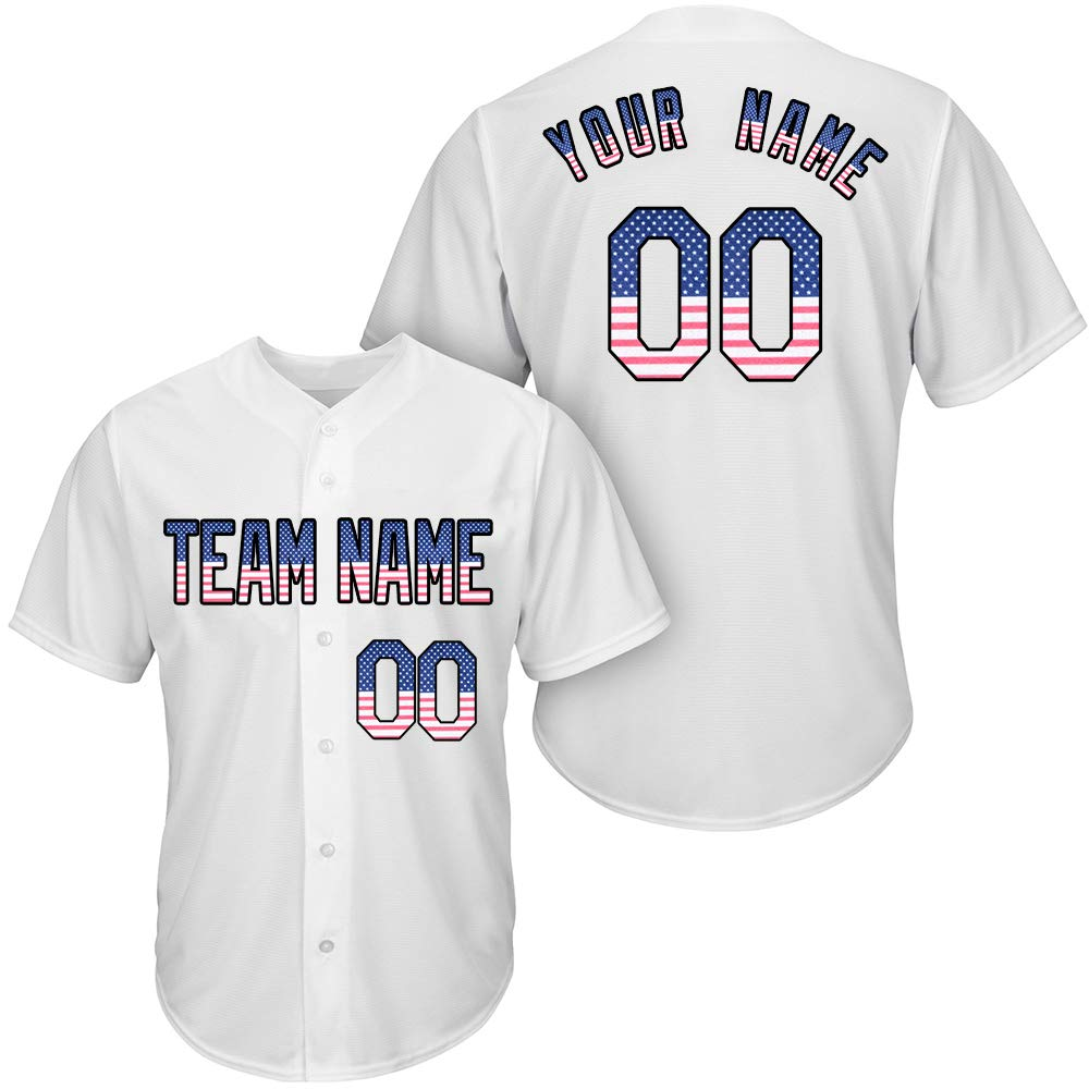 DEHUI Customized Youth White Mesh Baseball Jersey with Embroidered Team Name Player Name and Numbers,United States Flag Size 2XL by DEHUI