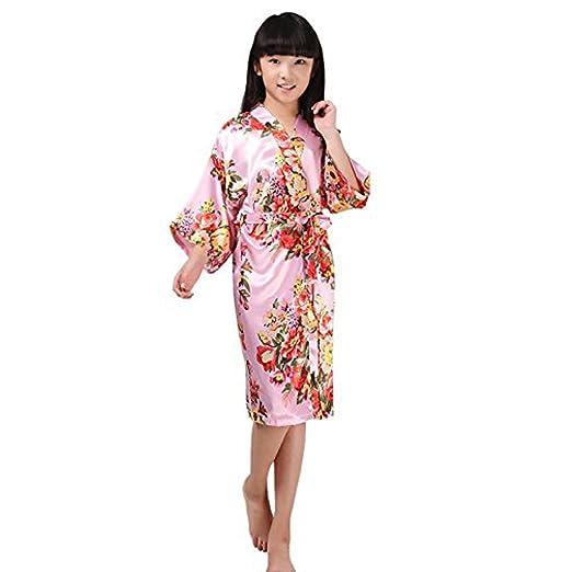 Amazon.com: Yesky Children\'s Silk Stain Flower Robe Kimono Wedding ...