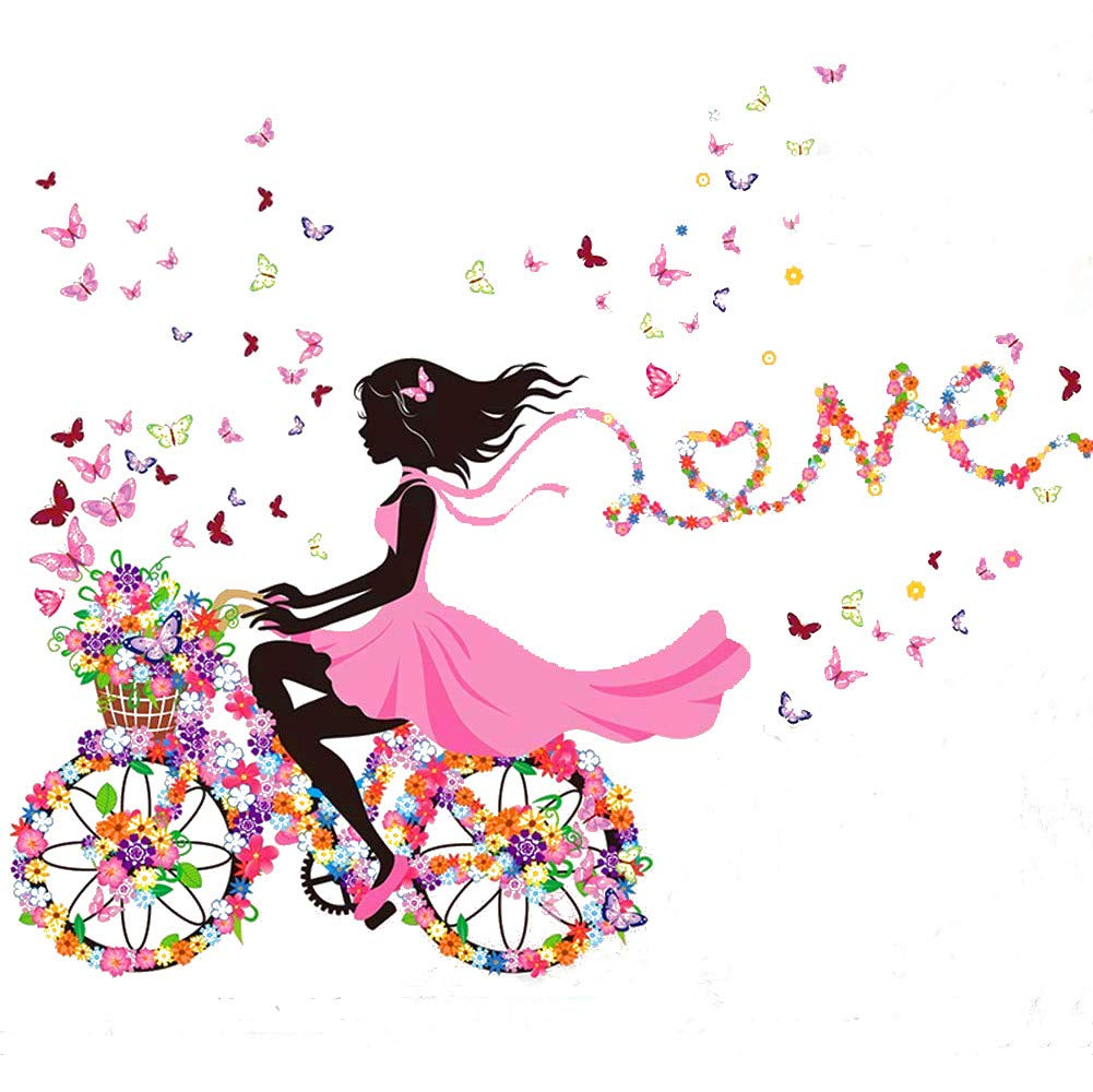 """SWORNA Nature Series SN049 Flower Butterfly Girl on Bicycle Removable Vinyl DIY Wall Art Mural Sticker Decal Decor for Living Room/Bedroom/Playroom/Hallway/Kindergarten/Home Office/School 28""""H X 55""""W"""