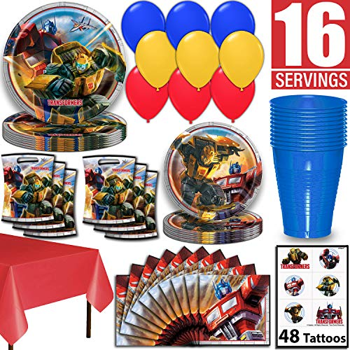 Transformer Party Ideas (Transformers Party Supplies, Serves 16 - Dinner Plates, Dessert Plates, Napkins, Tablecloth, Cups, Balloons, Loot Bags, Tattoos - Full Tableware, Decorations,)