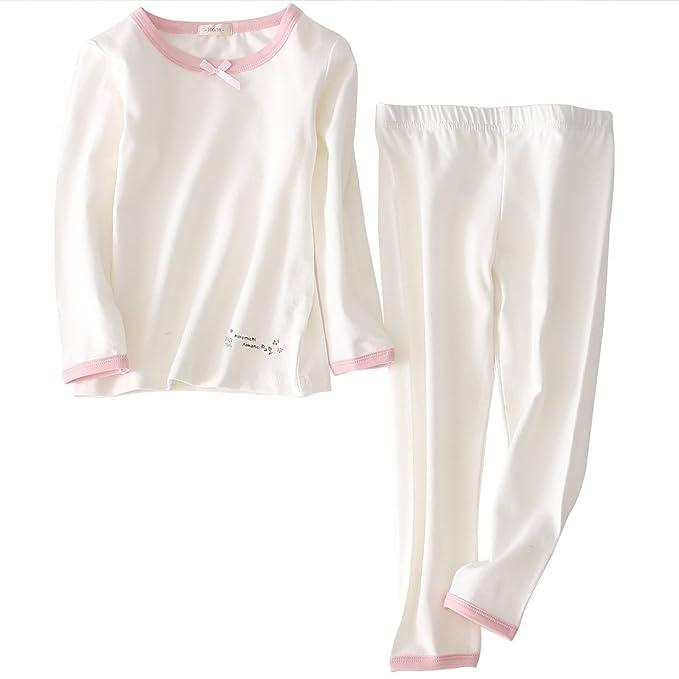 ac6f58cfb FEOYA - Ropa de Casa de Algdón para Niñas de Cuello Redondo Transpirable  Pijama Niñas 2 Piezas con Mangas Largas Cómodo Estampado Lindo Color Puro  Otoño  ...
