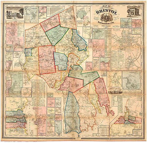 Bristol County Massachusetts 1858 - Wall Map with Homeowner Names - Old Map - County Fair Map North
