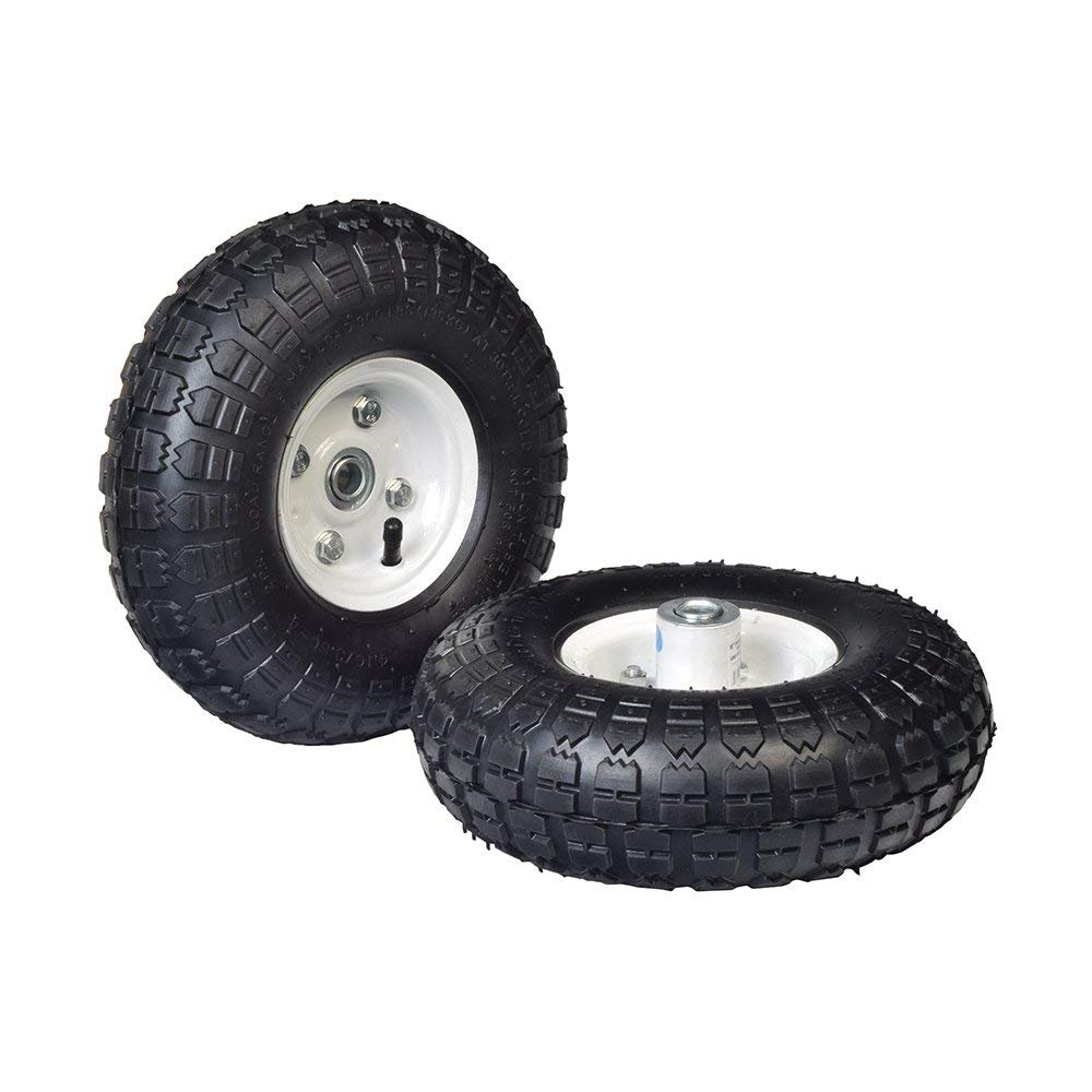 AlveyTech 10'' Pneumatic Tire Utility Wheel Assembly for Dollies, Wagons, Carts (Set of 2) (White) by AlveyTech
